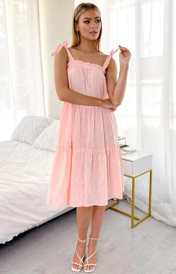 Flower Child Midi Dress Pink