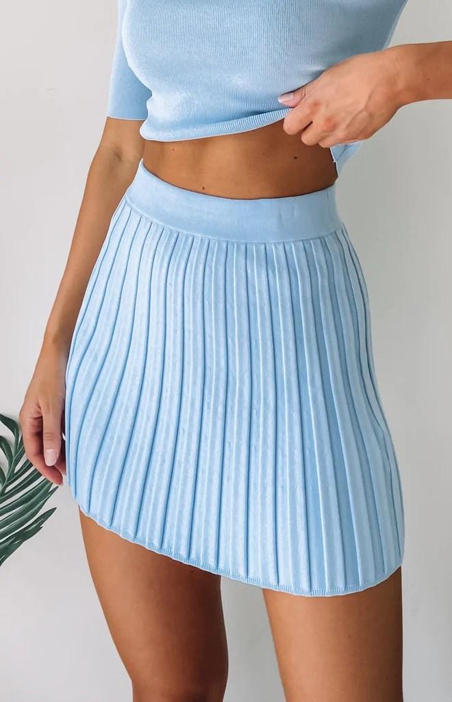 Forgiven Knit Skirt Pastel Blue 4