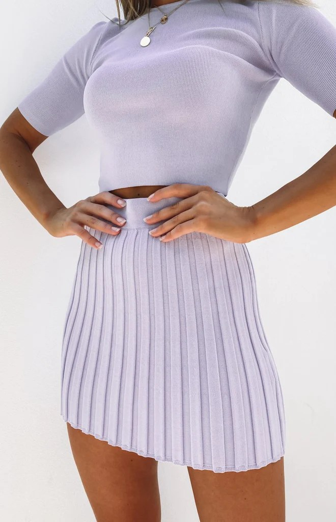 Forgiven Knit Skirt Lilac 4