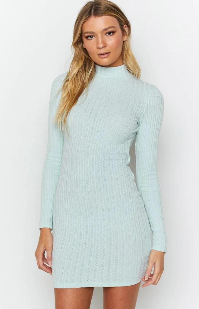 Mary Jean Long Sleeve Knit Dress Light Blue 6