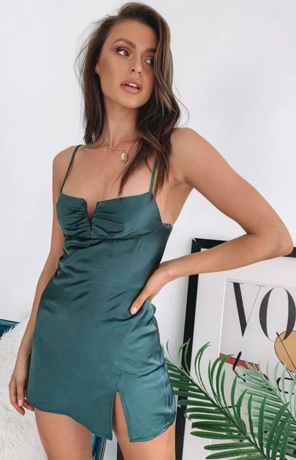 Omi Mini Satin Dress Emerald