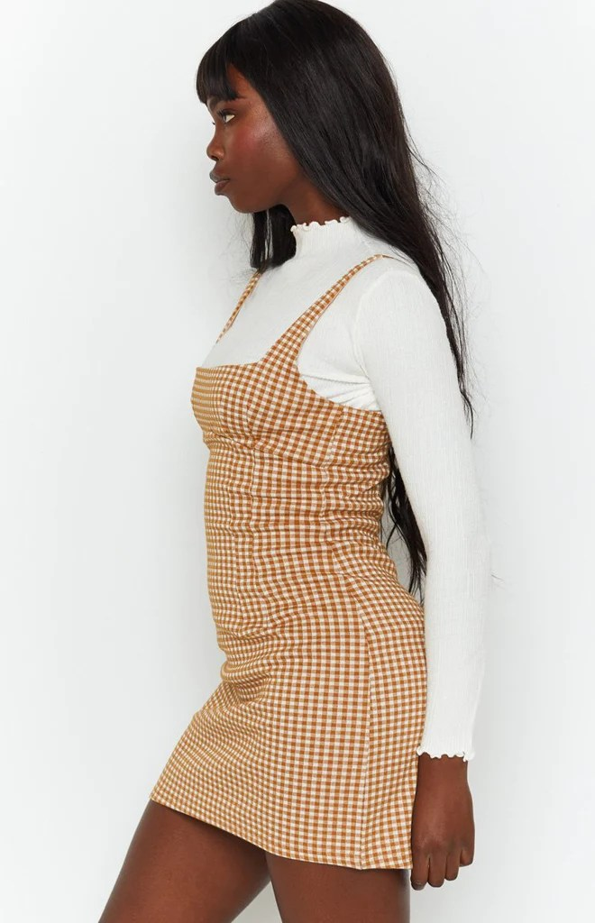 Pebbles Mini Dress Brown Check 8