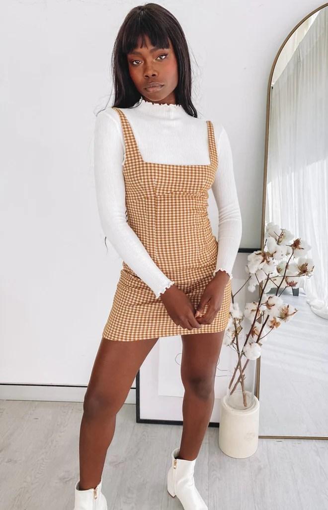 Pebbles Mini Dress Brown Check 4
