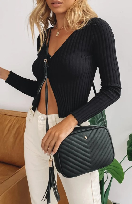 Peta And Jain Gracie Quilt Handbag Black 23