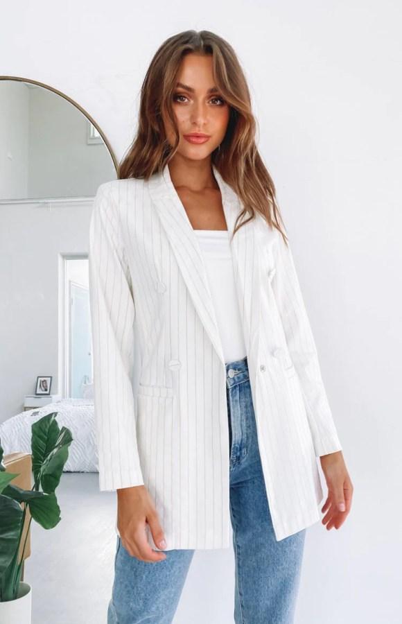 Riley Blazer Jacket Cream & Gold Pinstripe