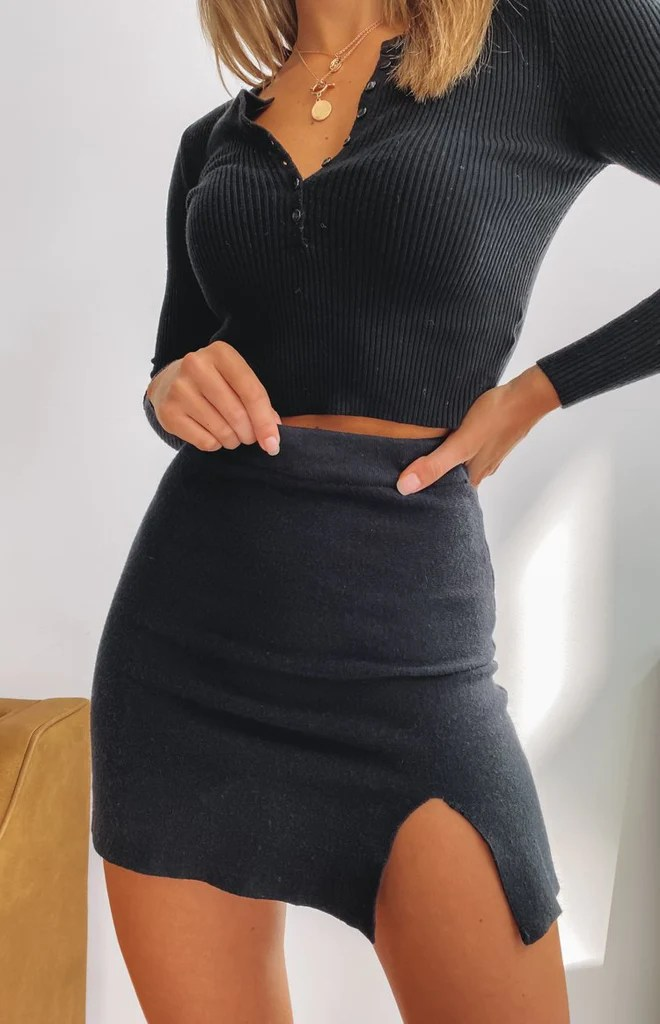 Roma Knit Split Skirt Black 9