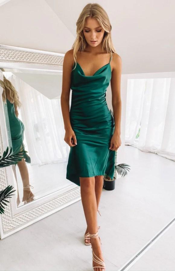 Schiffer Slip Midi Dress Emerald