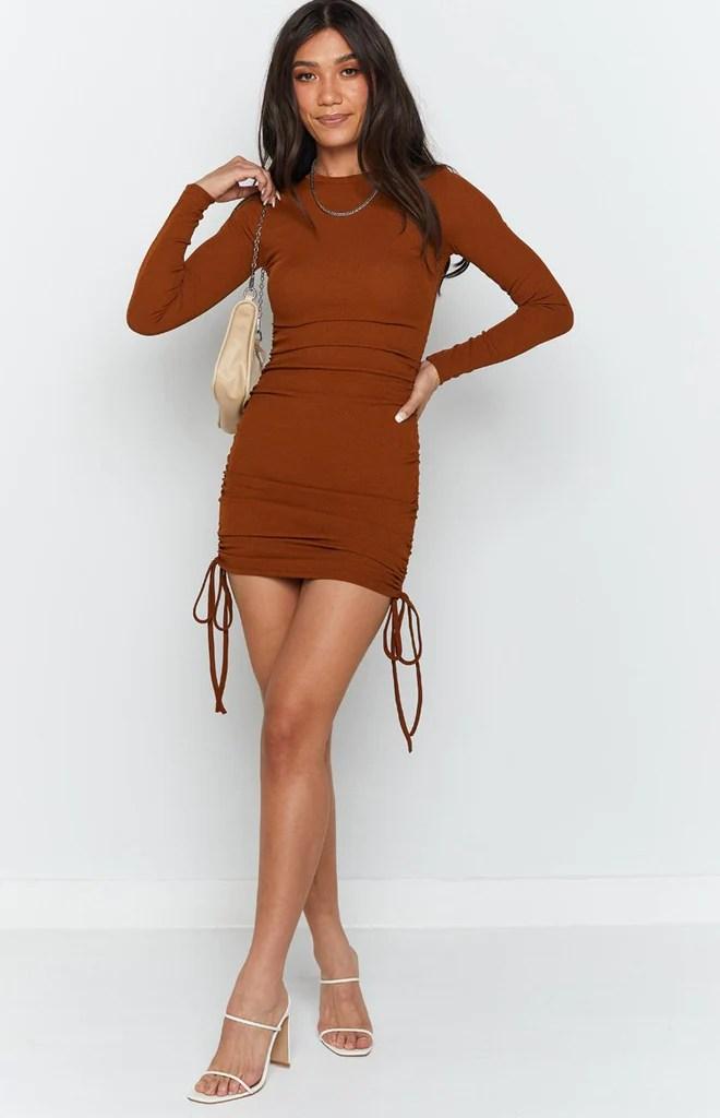 Shaunie Drawstring Dress Rust 5