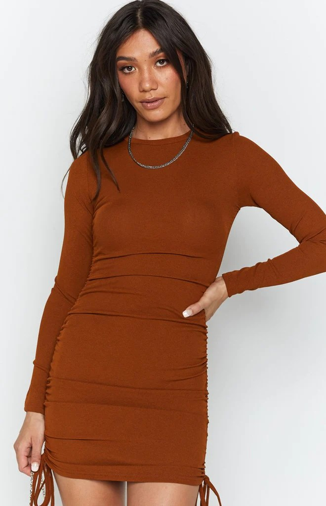 Shaunie Drawstring Dress Rust 6