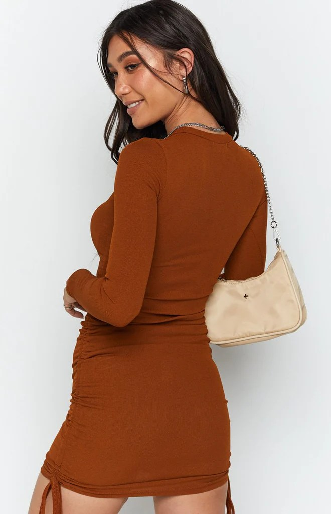 Shaunie Drawstring Dress Rust 8