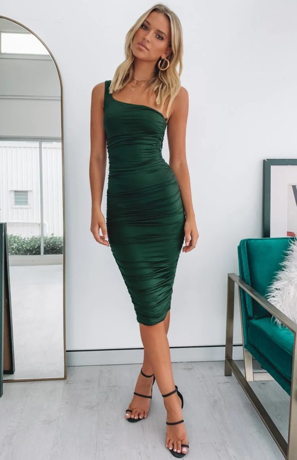 Tauriel One Shoulder Ruched Midi Dress Teal