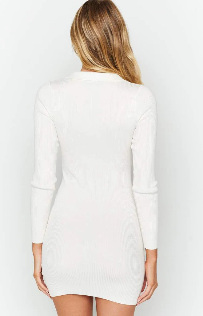 Underwood Collared Ribbed Dress White 8