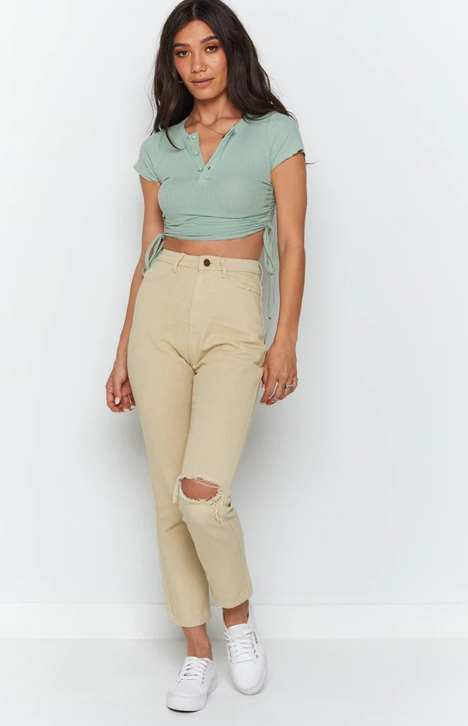 Vantage Button Down Ruched Side Top Sage 5