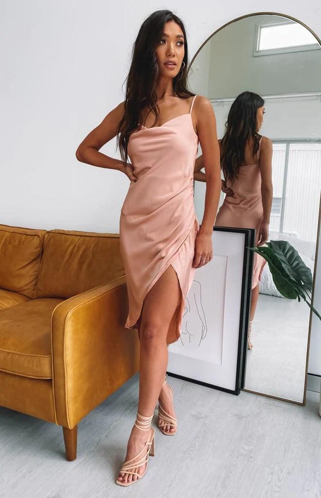Zariah Slip Midi Dress Peach 3