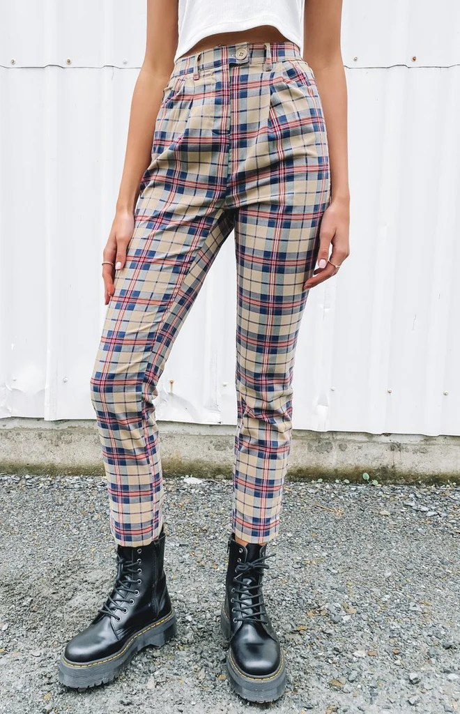 Nana Judy Ebony Tapered Leg Trouser Tan Plaid 6