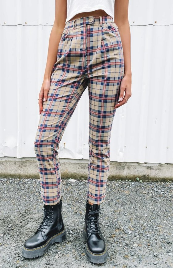 Nana Judy Ebony Tapered Leg Trouser Tan Plaid 24