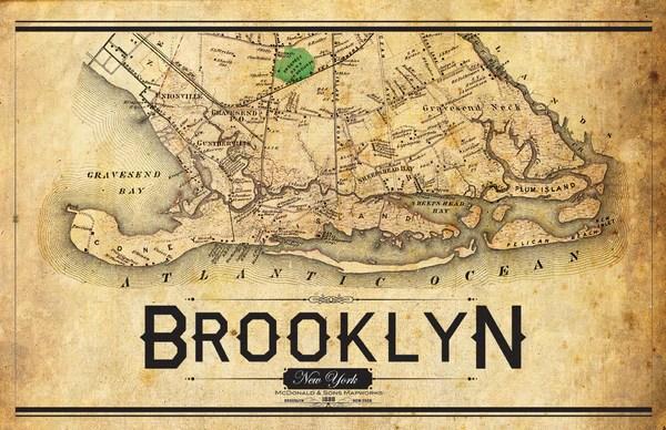 South Brooklyn Vintage Map  I Lost My Dog