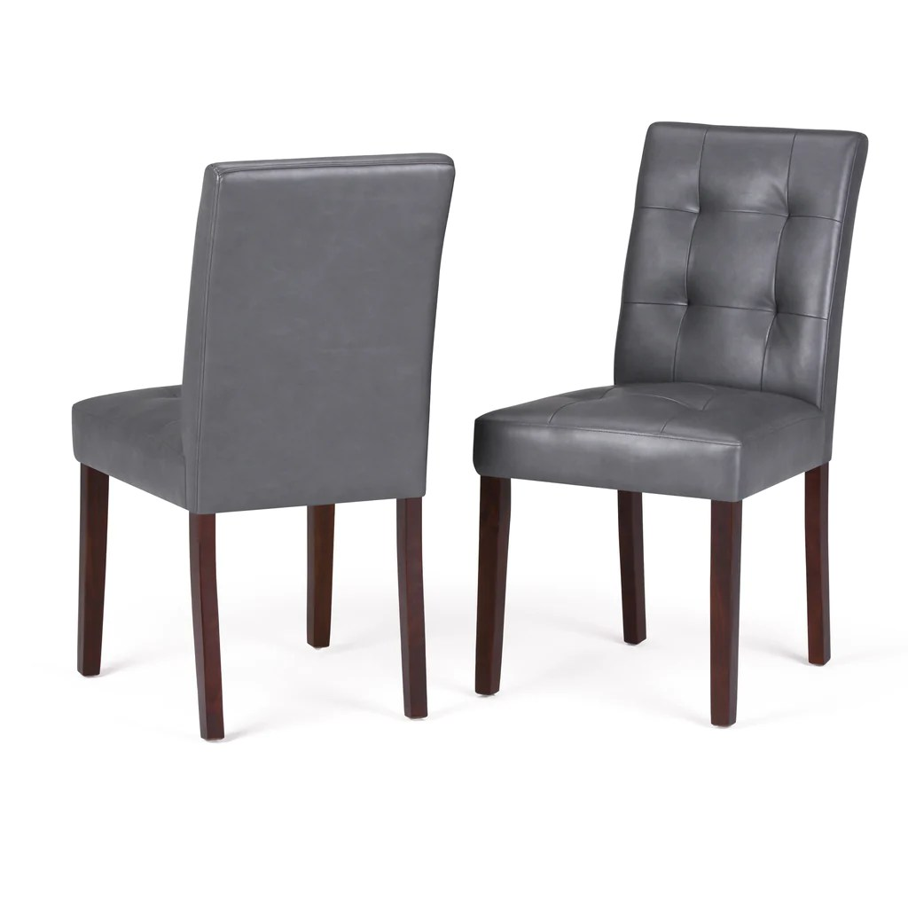 Andover Faux Leather Parson Dining Chair In Stone Grey Set Of 2