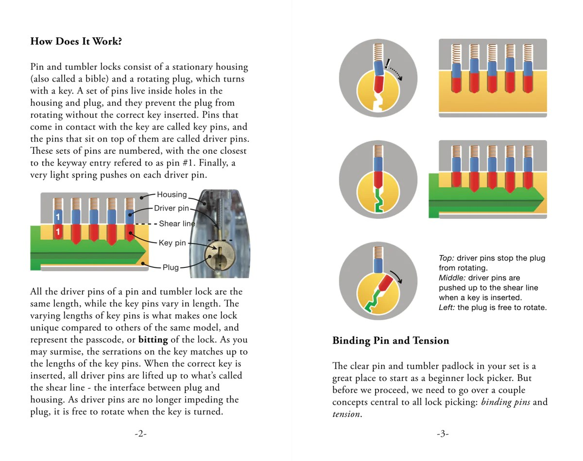 medium resolution of guide to lockpicking showing diagram of pin and tumblers