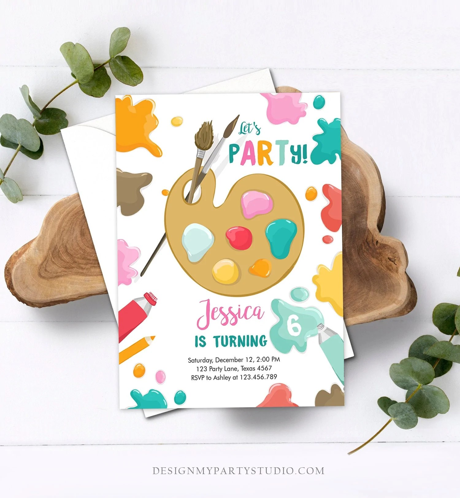 editable painting party invitation art party birthday invite girl pink paint craft party download printable template digital corjl 0319