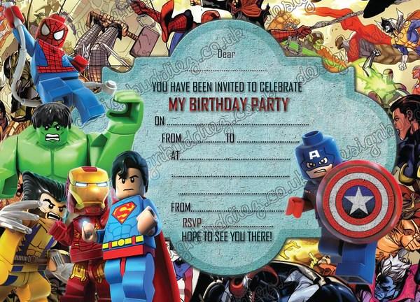 boys lego birthday party invitations lego hero lego marvel hero invites