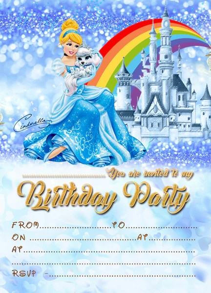 kids disney princess cinderella birthday party invitations thick cards free envelopes