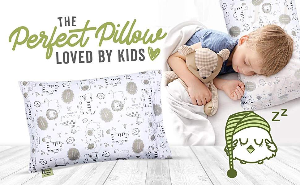 hypoallergenic toddler pillow with 100 cotton pillowcase