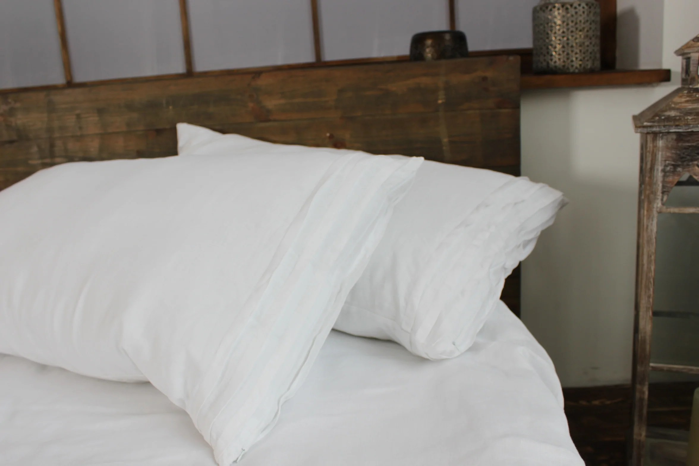 natural linen pillow sham with decorative pleats standard queen king euro sizes natural white or grey colors