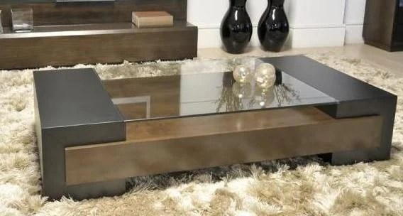 wooden glass top center table with box storage