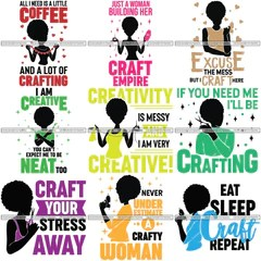 Bundle 9 Afro Craft Lady Svg Cutting Files For Silhouette Cricut And M Designsbyaymara