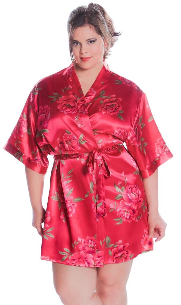plus size floral long robe vx intimate vx