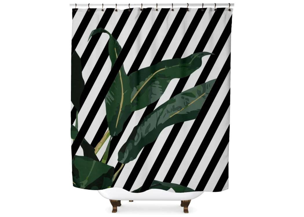 striped banana leaf shower curtain standard 70x70