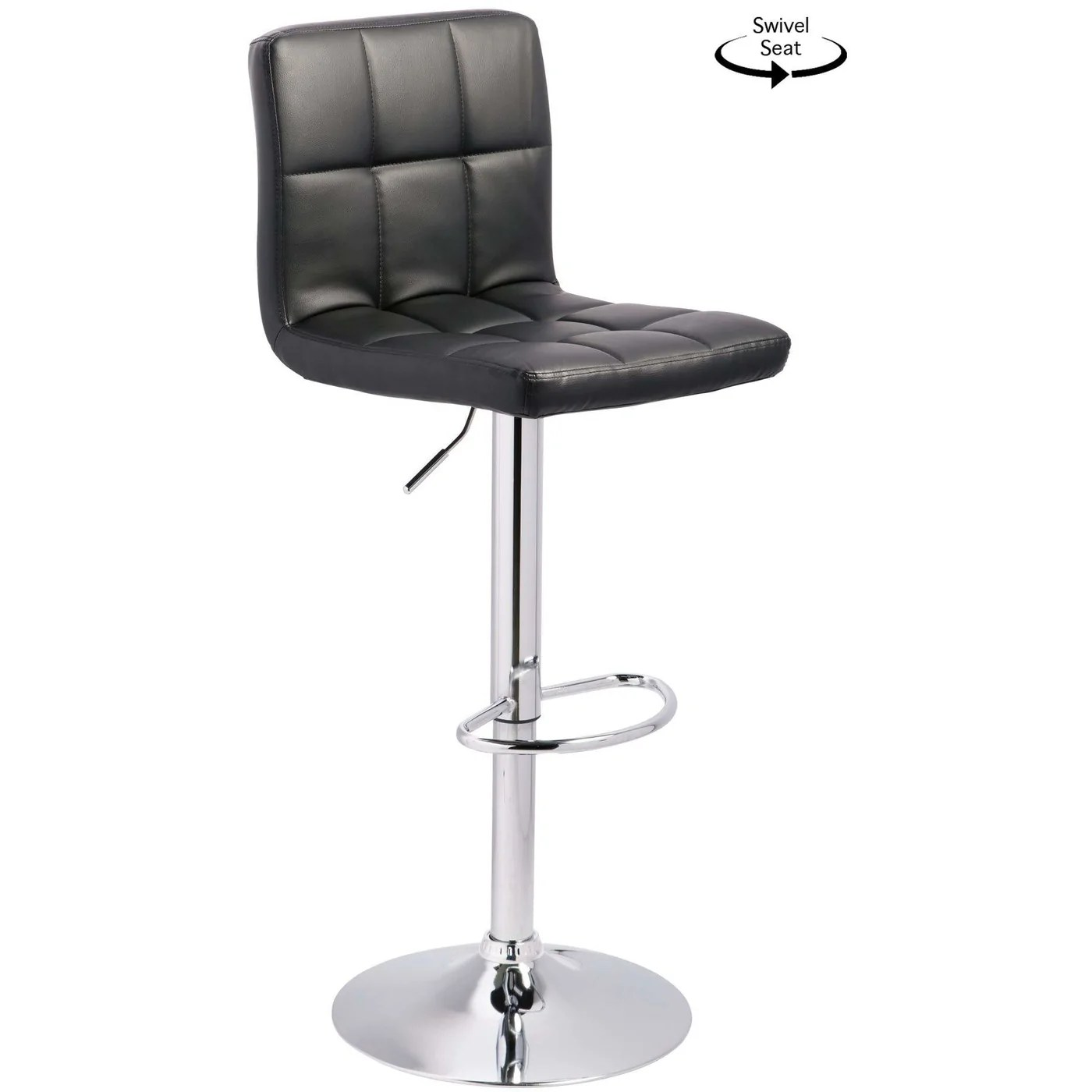 quilted swivel chair renting chairs and tables adjustable barstool black