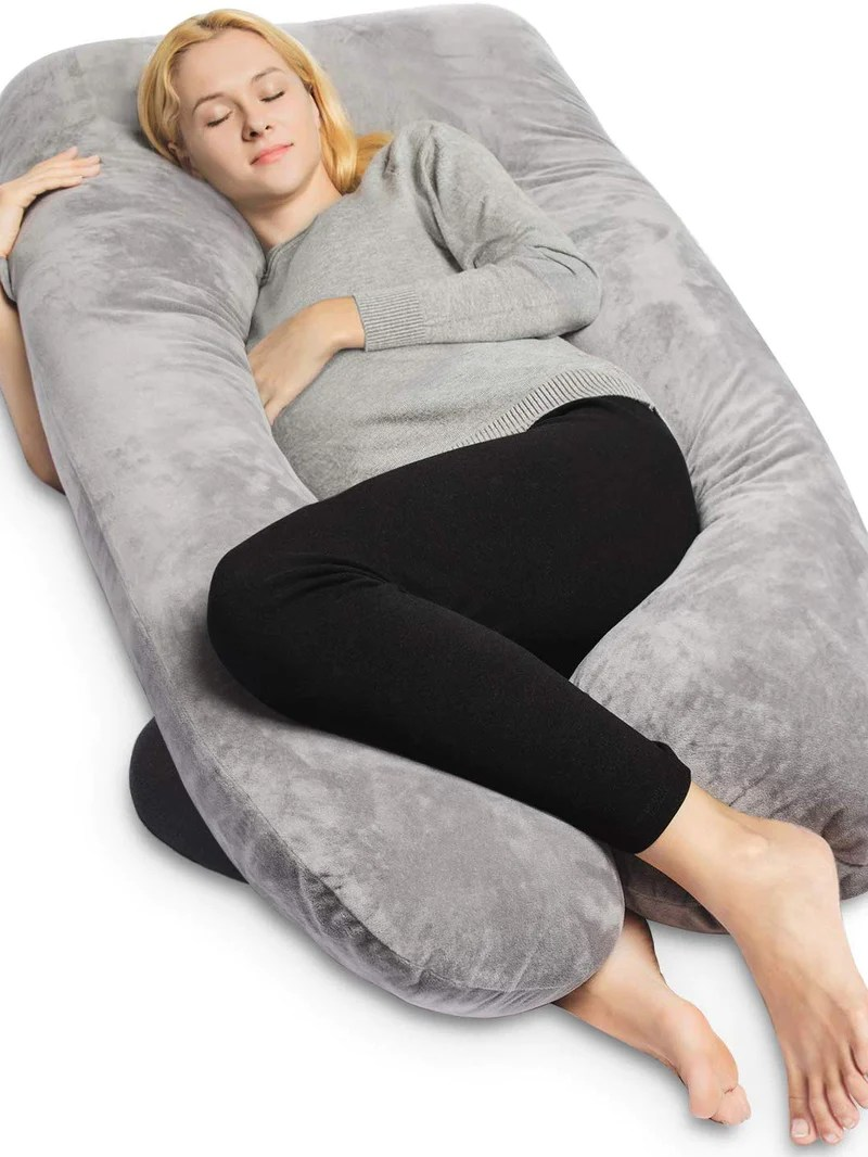 velvet pregnancy pillow full body support grey