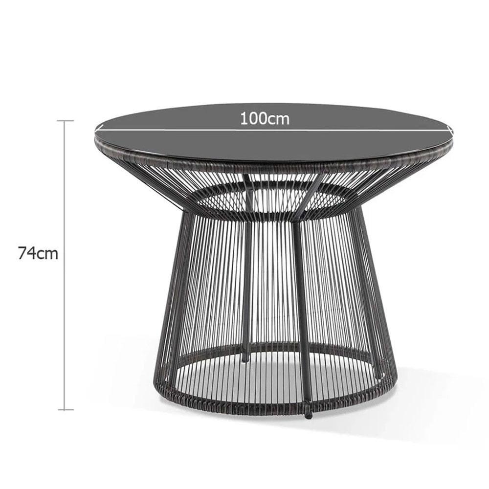 luna outdoor round wicker glass top table