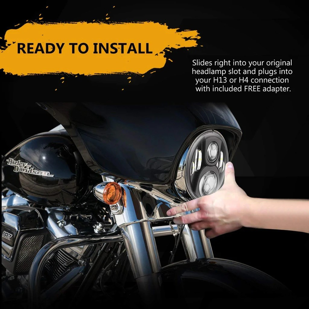 small resolution of 7 led headlight compatible for harley davidson motorcycle projector daymaker hid led light bulb for