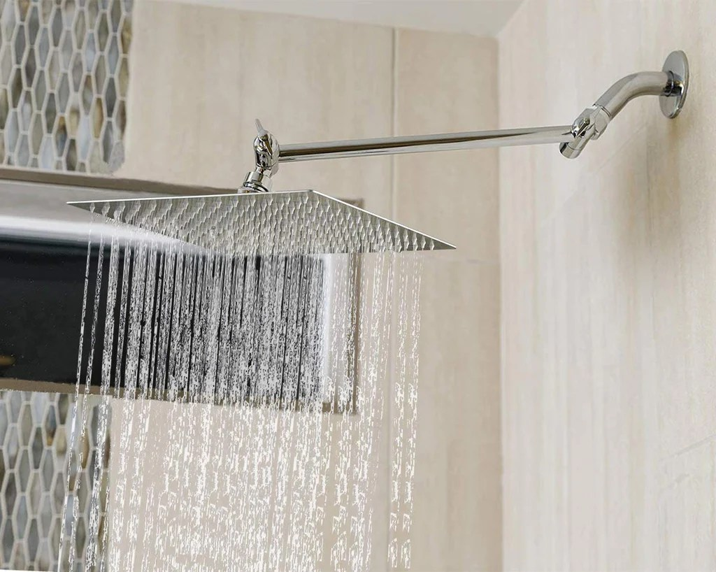 Rainfall Shower Head With Adjustable Extension Arm Ten O