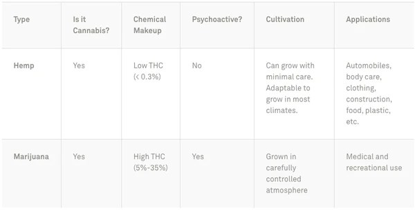 Summary table of the differnce between CDB vs THC