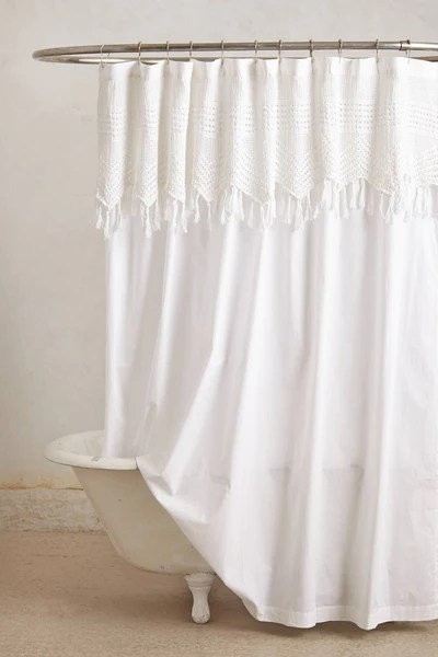 Trending in Bathroom Decor Airy White Shower Curtains  Rotator Rod