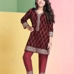 C02 Maroon Designer Velvet Shirt Aapi Me Winter Vol 2 A Meenah
