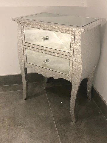 Orleans Silver Metal Embossed 2 Drawer Mirrored Low Bedside Cabinet Lilahaus Interiors Outdoors