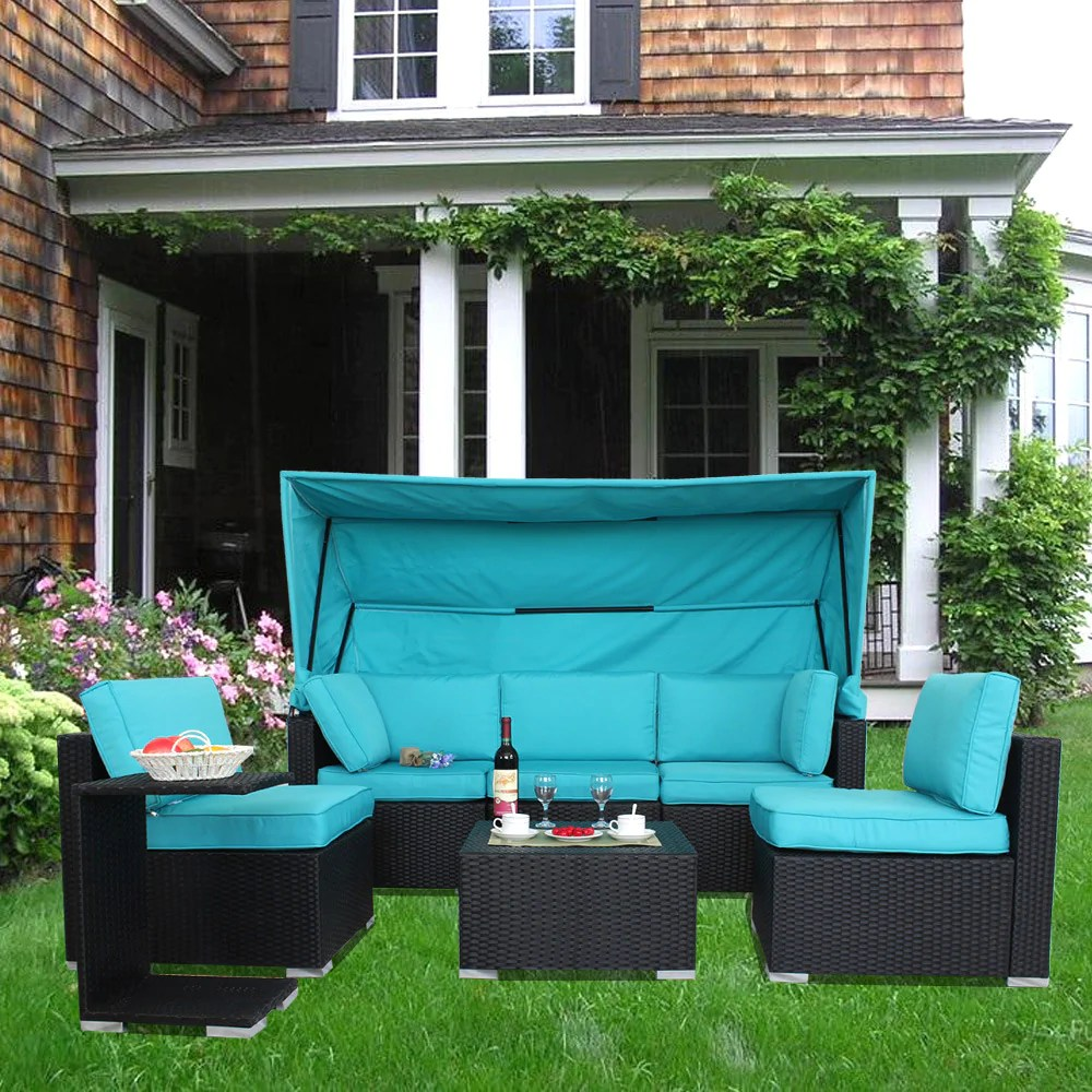 7pcs outdoor patio furniture set sectional sofa turquoise with awning
