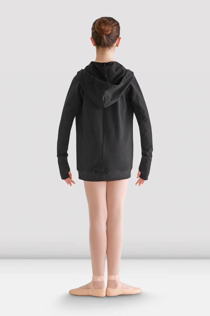 girls longline hooded jacket black