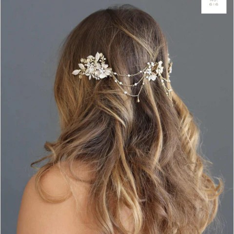 Flower Cluster Swag Headpiece Twigs and Honey Happily Ever Borrowed