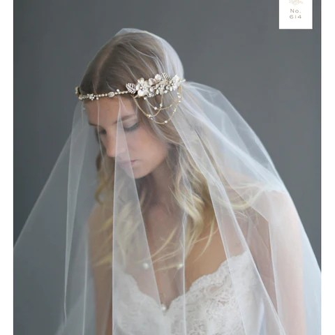 Asymmetrical Floral and Crystal Swag Headpiece Twigs and Honey Happily Ever Borrowed