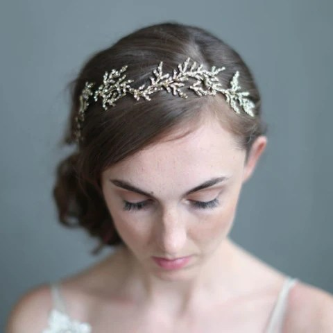 Gilded Crystal Encrusted Branch Headpiece Twigs and Honey Happily Ever Borrowed