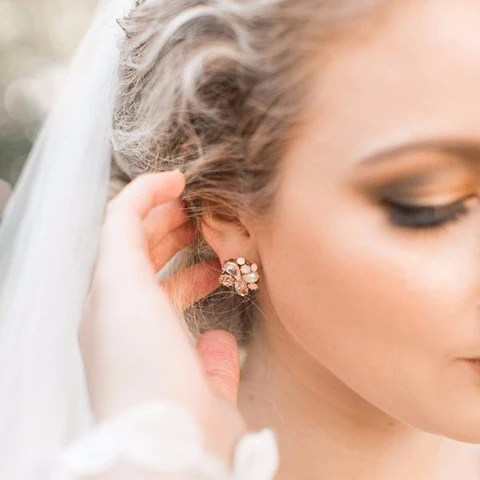cluster post earrings haute bride happily ever borrowed