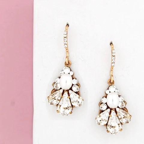 petite pearl drop earrings haute bride happily ever borrowed