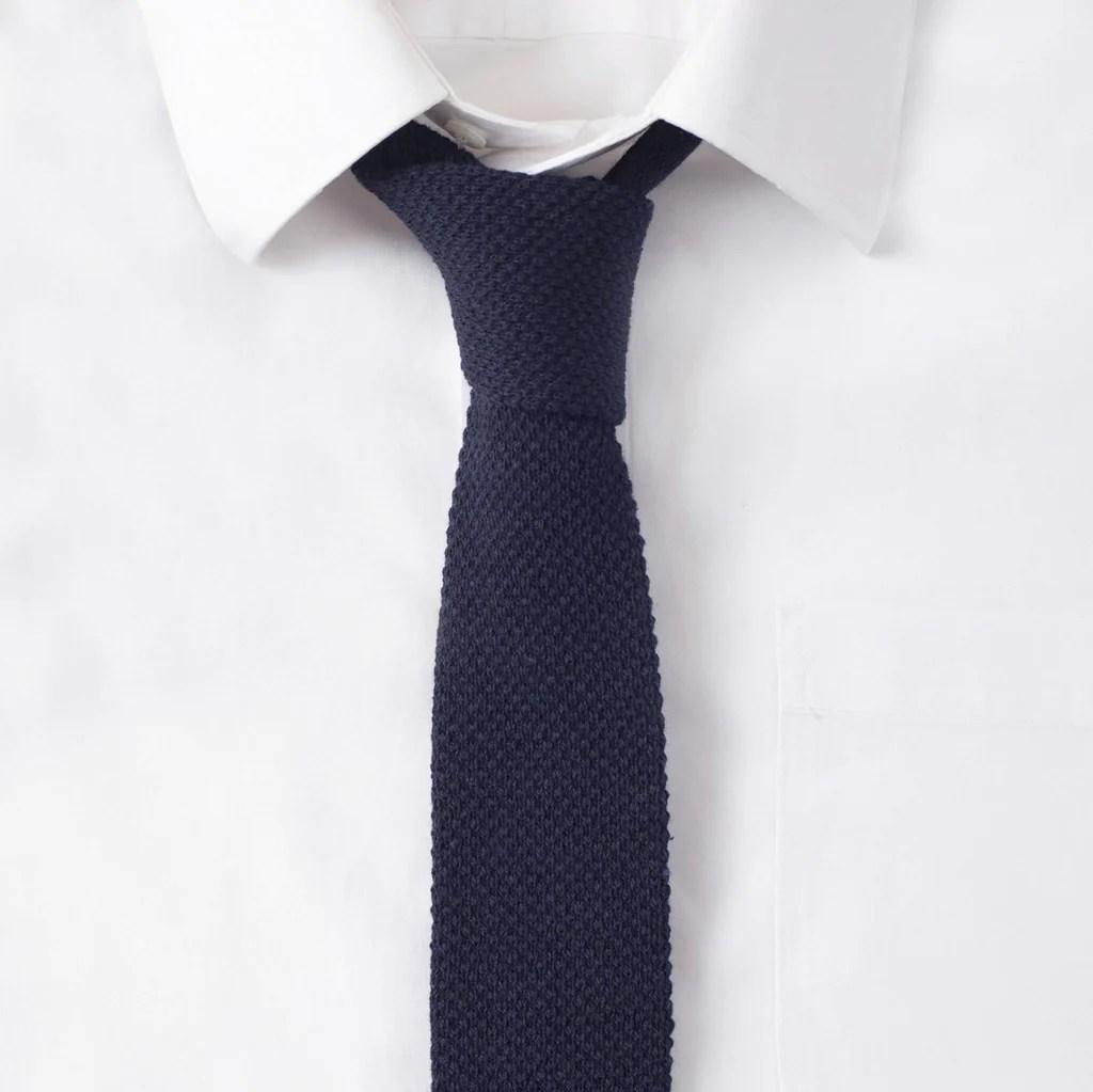 Knit Cotton Navy Tie :: Maxton Men