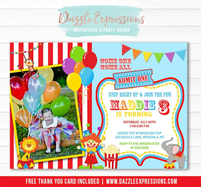 circus or carnival birthday invitation 1 thank you card included